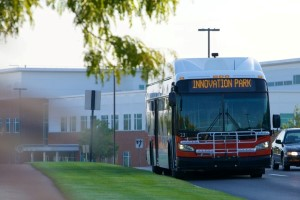 A CATA bus drives through Innovation Park