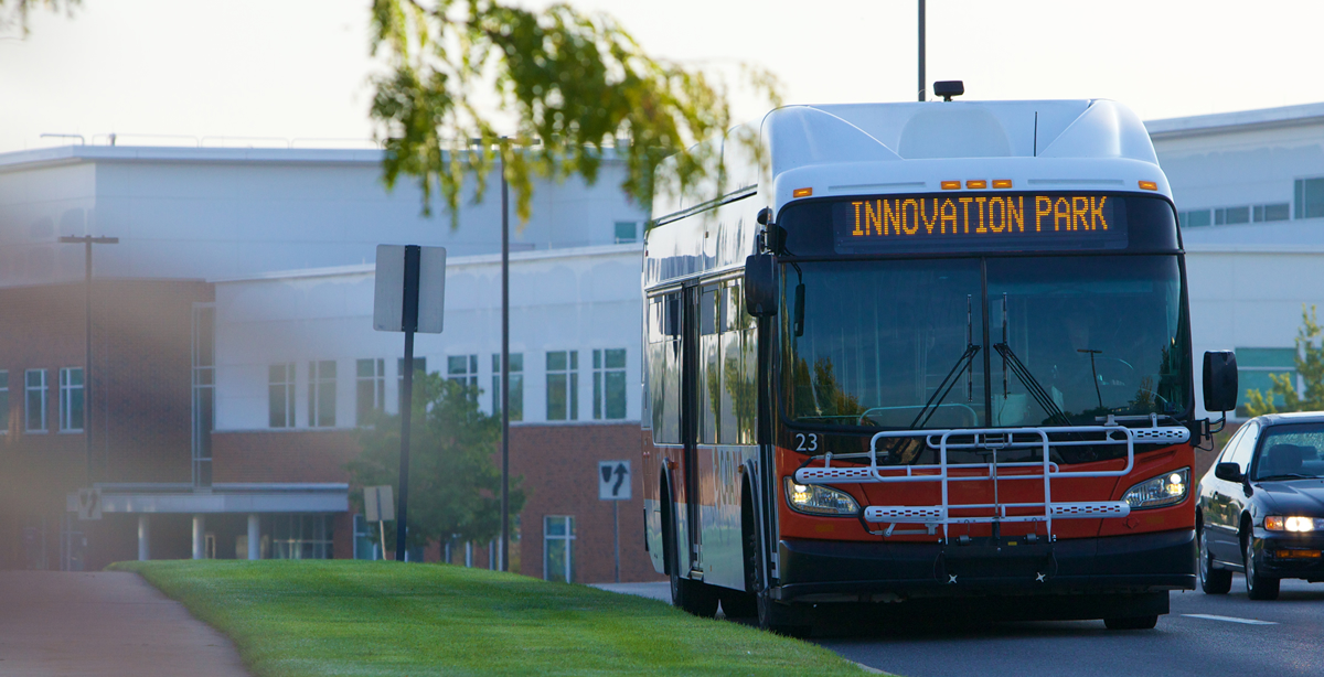 Why choose Innovation Park? Benefits include easy access to CATA bus routes.